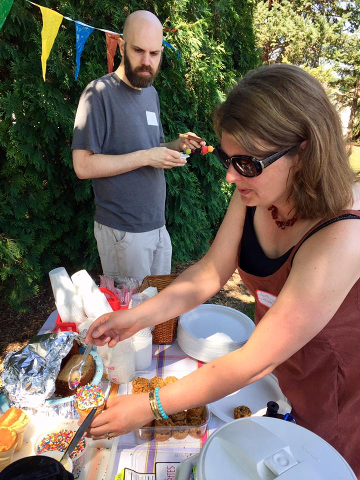 Organizers celebrate with a picnic in a park