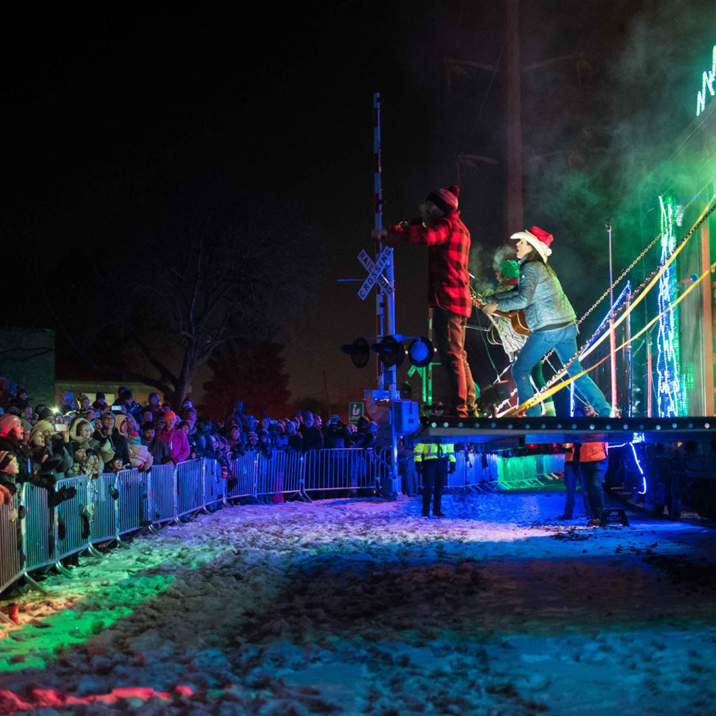 A stage folds out of a box car on the Canadian Pacific Holiday Train, entertaining crowds across the country.