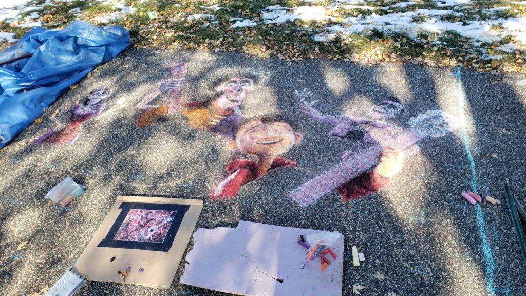 Chalk art about half way complete