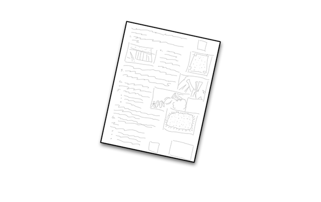 Illustration of an instruction sheet.