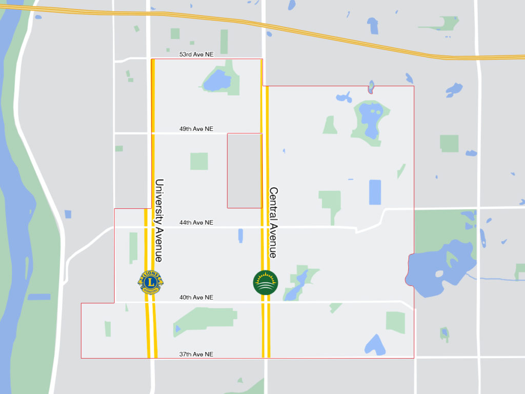 Map of Columbia Heights, MN showing street cleanup routes with Central Avenue highlighted for HeightsNEXT, and University Avenue highlighted for the LIONS Club
