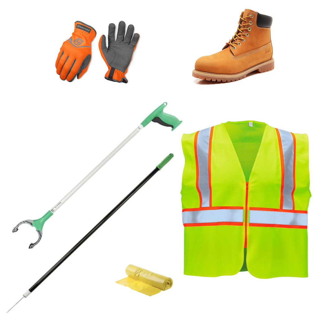 Street cleanup gear, including work gloves, work boots, a high visibility safety vest, yellow trash bags, garbage picker stick, and a grabbing tool.