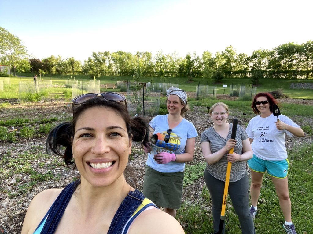 Volunteer gardeners at the food forest