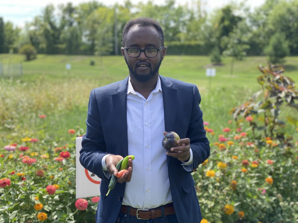 A black man holds vegetables freshly picked from a food forest garden.