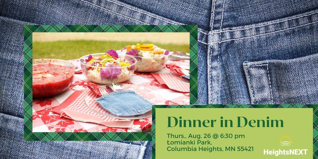 Dinner in Denim, Thursday August 26, 2021 @ 6:30pm, Łomianki Park, Columbia Heights, MN 55421