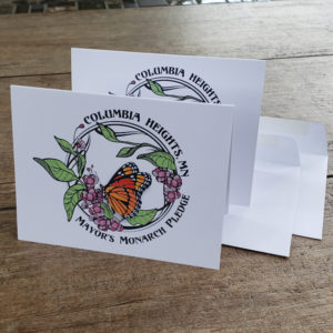 Columbia Heights Mayor's Monarch Pledge folded notecards and envelopes