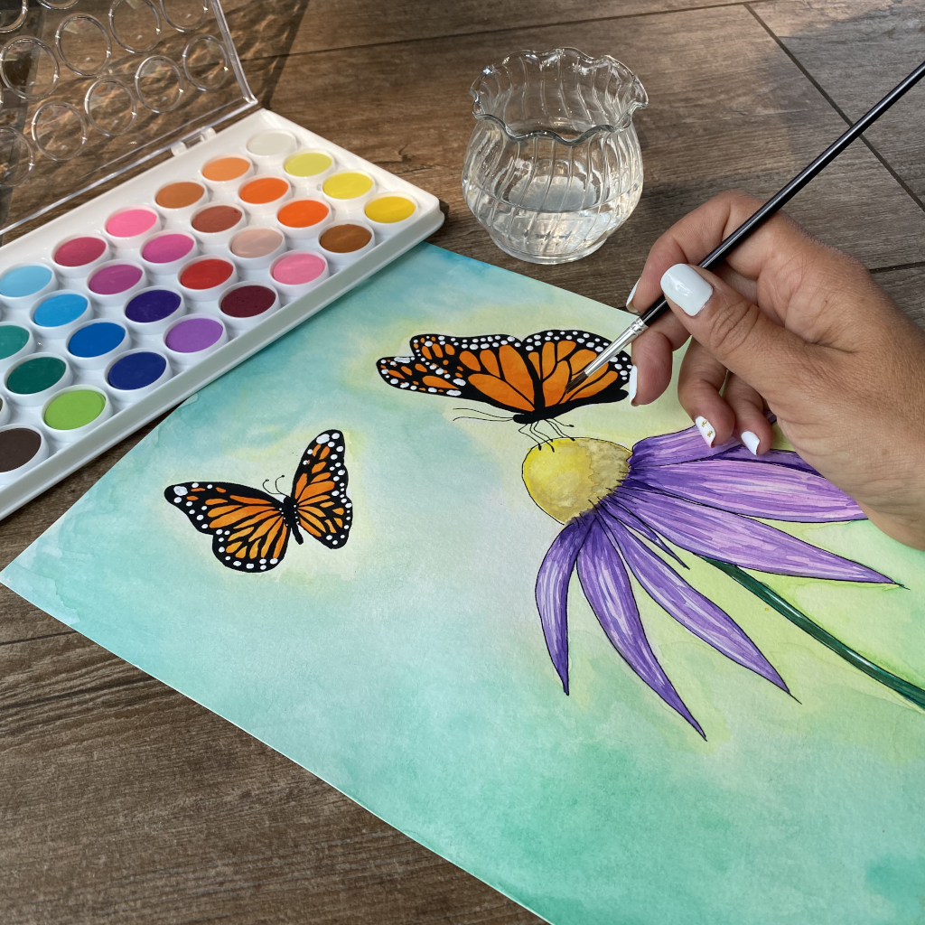 Watercolor painting monarch butterflies