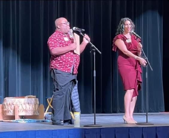 Hosts Kiki Latham and Mayor Amáda Márquez Simula introduce performers at the 2021 Heights Cultural Festival