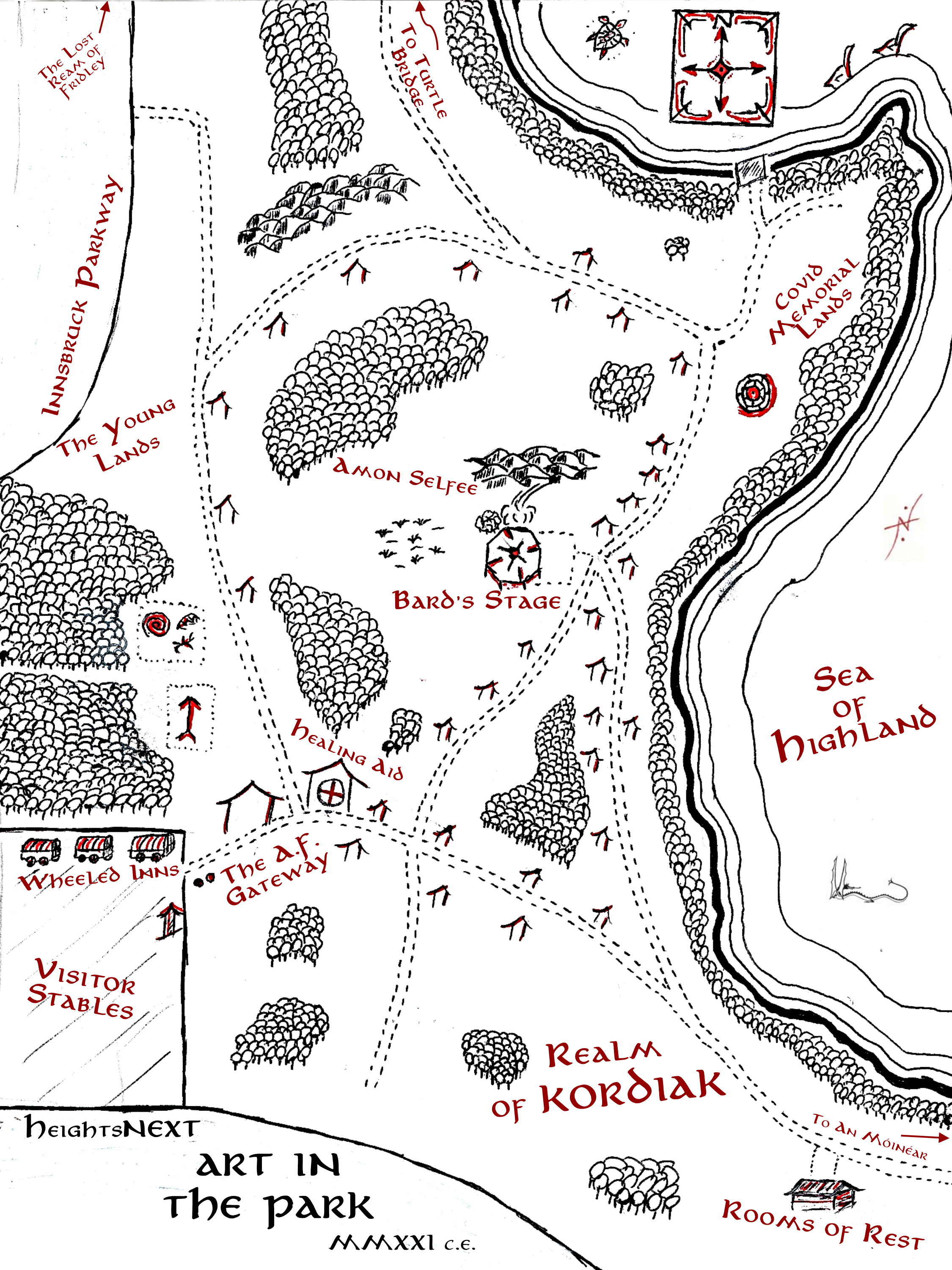 Art in the Park map of Kordiak Park in the style of Middle Earth